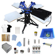 3 Color 4 Station Screen Printing Kit Press Machine With Rotary Dryer Ink Coat
