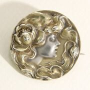 Antique Unger Brothers Sterling With Gold Wash Art Nouveau Brooch Pin Pendant