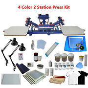 4 Color 2 Station Screen Printing Press Materials Kit With Exposure Unit And Ink