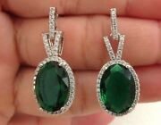 2.26ct Natural Round Diamond 14k Solid White Gold Emerald Wedding Hoop Earring