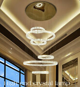 Living Room Chandelier Modern Compound Crystal Dimmable Led Staircase Light Lamp