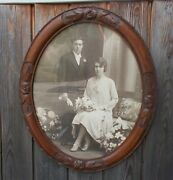 Xl Antique Ornate Hand Carved Wood Picture Frame Oval Wall Hanging