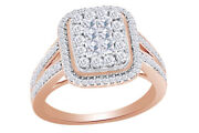 1 Ctw Diamond Square Cluster Engagement Ring In 14k Rose Gold Christmas Special