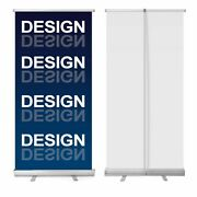 Two - New Retractable Pull Up Banner Stand 33 With Printing - Price Reduced