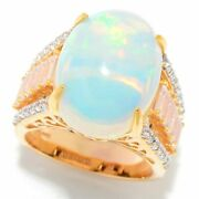 Meherand039s Jewel 18 X 13mm Oval Ethiopian Opal And White Zircon Silver Ring Sold Out
