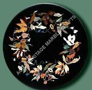 24 Black Marble Bedroom Side Table Top Marquetry Inlay Christmas Gift Deco E471