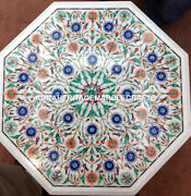 15 Marble Coffee Table Marquetry Gems Inlay Collectible Art Hallway Decor H3128
