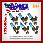 Set Of 6 Injector Dynamics 2600.60.11.d.6 For 3000gt Gtr-r32 Supra Turbo Gs300