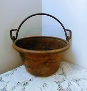 Large Antique Vtg Hammered Copper Pot, Bucket, Planter W/forged Iron Handle