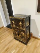 Fu Shen 1910-1920 Chinese Antique Hand Engraved And Painted Wooden Black Cabinets