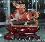Chinase Natural Agate Hand-carved Lucky Animal Horse Win Instant Success Statue