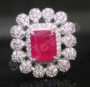 Christmas 2.81ct Natural Round Diamond 14k Solid White Gold Ruby Cocktail Ring