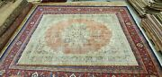 Antique Cr1930-1949and039s Distressed Wool Pile Overdyed Oushak Area Rug 7x10ft