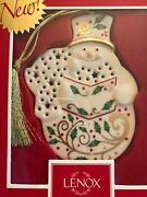 Lenox Christmas Holly Snowman Reindeer Teacup Ornaments Candle And Dish