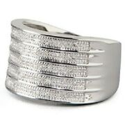 Lenox 5-row Diamond Band Ring Sterling Silver Choose Size New