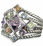 Sterling Silver With 9 Multi Color Gemstone Ring By Lenox Size 8 New
