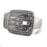 Sterling Silver Marcasite Belt Buckle Ring By Lenox Size 7 New