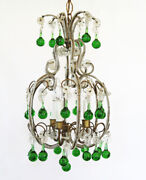 Antique Italian Rare Green Beaded Baubles Chandelier Gorgeous