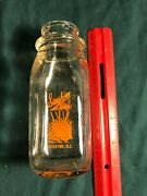 Half Pint Dairy Bottle, Sunshine Dairy, Decatur, Ill Painted Labels, Vg