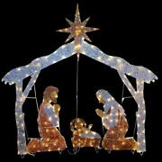 Nativity Scene 72 In. Clear Led Lights Indoor Outdoor Christmas Decoration New