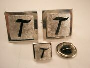 -t Initial Monogram Letter Font Name Vintage Swank Cuff Links And Tie Tack Set