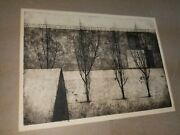 Ryonosuke Fukui Japan Artist Etching With Aquatint Tree And Building Composition