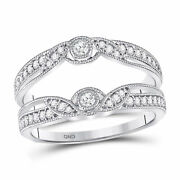 Saris And Things 14kt White Gold Womens Round Diamond Wrap Ring Guard Enhancer 1