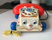 Vintage Fisher Price Chatter Phone Toy Pull Along Telephone 1961 Made In Usa
