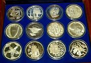 Hamilton Mint Spirit Of America Complete Set Of 12 .999 Fine Silver Proof Medals