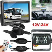 Wireless Ir Reversing Back Up Camera +7 Hd Monitor For Rv Truck Bus Rear View