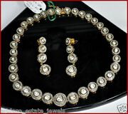 12.95cts Polki Rose Cut Diamond Antique Victorian Look 925 Silver Necklace Set