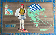 Greece. Very Rare And Old Greece Map And Tsolias Painting On Wood 31 X 19,5 Cm