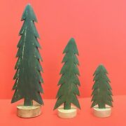 Set Of 3 Primitive Folk Art Distressed Handcrafted Wood Christmas Holiday Trees