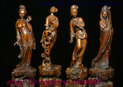 Chinese Natural Boxwood Carving 4 Beautiful Woman Beauty Belle Femme Statue Set