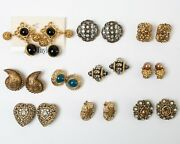Lot Of 10 Pairs Designer Costume Jewelry Earrings Clip-on Rhinestone Faux Pearls
