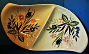 Vintage Red Wing Pottery Country Garden Divided Vegetable Dish Circa 1953
