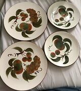 Stangl Hand Painted Orchard Song 10andrdquo And 8andrdquo Plates Oven Proof. Set Of 4. Two Each