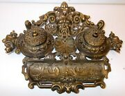 Antique Brass Double Inkwell Northwind Face Shell Baroque Rococo Library Desk