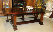 Marvelous Antique Style Country French 8 Foot Hardwood Dining Table 33-1/2 Wide