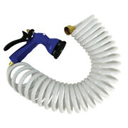 Whitecap 50and039 White Coiled Hose W/ Adjustable Nozzle P-0442