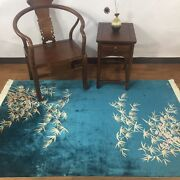 4and039x6and039 Blue Bamboo Design Handmade Home Decor Silk Rug Handknotted Area Carpet