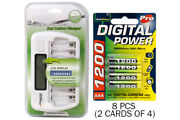 8 Bay Aa/aaa Lcd Battery Charger + 8-pack Aaa 1200 Mah Accupower Nimh Batteries