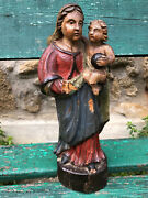 Virgin In And Child Wood Polychrome 18 Th Sculpture Antique Madonna And Child