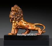 Western Art Deco Pure Bronze Painted Marble Foo Dog Lion Cougar Animal Sculpture