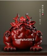 Chinese Purple Sand Pottery Wealth Fengshui Animal Money Toad Bufonid Sculpture