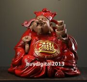 Chinese Purple Sand Pottery God Of Wealth Mammon God Of Fortune Buddha Sculpture