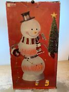 Jc Penny Home Collection Acrylic Lighted Snowman Happy Holidays L.e.d.