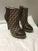 Authentic Ugg Brown Woven Maliha Leather High Heel Ankle Bootie Boots Size 7