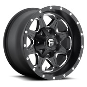 4 17x9 Fuel Matte Black And Mill Boost Wheels 6x135 And 6x139.7 For Ford Jeep