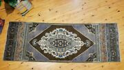 Rare Vintage 1950-1960and039s Natural Dye Wool Pile Oushak Runner Rug 2and03910x 8and0392